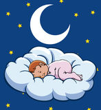 Bebé que duerme en una nube Imagen de archivo
