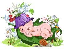 Bebé que duerme pacífico en el césped de flores stock de ilustración