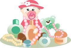 Bebé que juega con los cosméticos y las joyas Fotografía de archivo libre de regalías