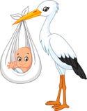 Bebé que lleva de la cigüeña de la historieta Imagen de archivo