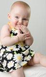 Bebé que mastica en la mano. Imágenes de archivo libres de regalías