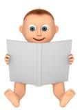 Bebé que mira un libro blanco Imagenes de archivo
