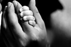 Bebé que se aferra a la mano de la mamá Imagen de archivo