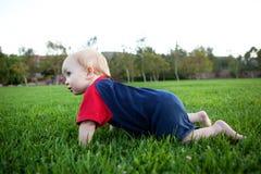 Bebé que se arrastra en la hierba Imagenes de archivo