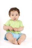 Bebé que se sienta en cal y aqua Imagen de archivo libre de regalías