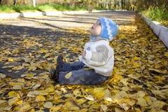 Bebé que se sienta en la tierra Fotos de archivo