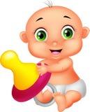 Bebé que sostiene el pacificador ilustración del vector