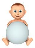 Bebé que sostiene la bola blanca Imagenes de archivo