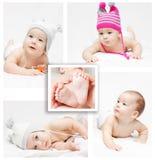 Bebé recién nacido. Collage Foto de archivo libre de regalías