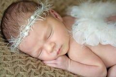 Bebé recién nacido con las alas del ángel foto de archivo libre de regalías