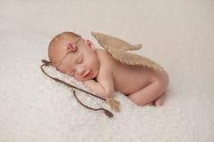 Bebé recién nacido con las alas del cupido y el sistema del tiro al arco Fotos de archivo