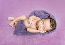 Bebé recién nacido dormido en una manta púrpura fotos de archivo