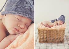 Bebé recién nacido durmiente del dulce en cesta-collage de mimbre imagen de archivo libre de regalías