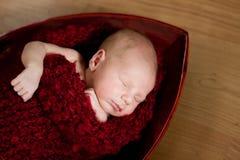 Bebé recién nacido durmiente en capullo rojo Imagenes de archivo