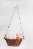Bebé recién nacido en cesta Fotografía de archivo libre de regalías