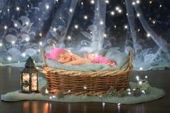 Bebé recién nacido en una cesta imágenes de archivo libres de regalías