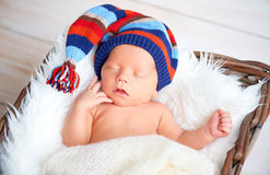 Bebé recién nacido lindo en casquillo del punto del azul que duerme en cesta imágenes de archivo libres de regalías