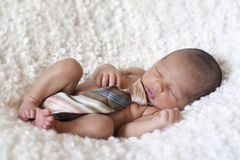 Bebé recién nacido que duerme con un lazo Foto de archivo libre de regalías