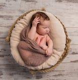 Bebé soñoliento envuelto con las piernas y las manos dobladas en la cabeza imágenes de archivo libres de regalías
