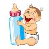 Bebé sonriente con una botella de leche Foto de archivo