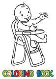 Bebé sonriente divertido en el highchair ilustración del vector