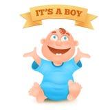 Bebé sonriente recién nacido lindo en camiseta azul libre illustration