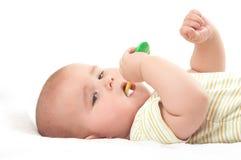 Bebé toothbrooshing Foto de archivo libre de regalías