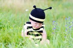 Bebé trastornado en traje de la abeja en el prado Imágenes de archivo libres de regalías