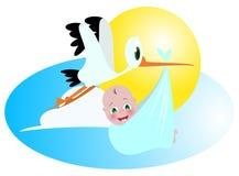 Bebé y cigüeña Imágenes de archivo libres de regalías