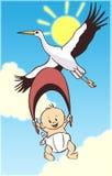 Bebé y cigüeña de la historieta Imágenes de archivo libres de regalías