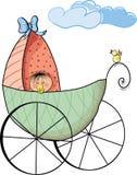 Bebé y coche de bebé Fotografía de archivo libre de regalías