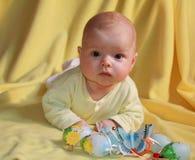 Bebé y huevos de Pascua Fotografía de archivo libre de regalías