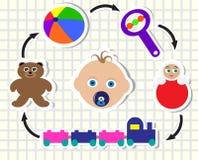 Bebé y juguetes stock de ilustración