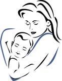 Bebé y madre Dibujo de esquema Foto de archivo libre de regalías