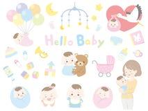 Bebé y madre ilustración del vector