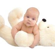 Bebé y peluche Fotografía de archivo libre de regalías