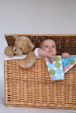 Bebé y peluche Fotografía de archivo