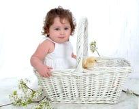 Bebé y polluelo en cesta de mimbre Foto de archivo libre de regalías