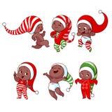 Bebés afroamericanos de la Navidad con diversas emociones en el var ilustración del vector