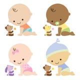 Bebés con los osos del peluche Foto de archivo libre de regalías