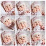 Bebés del collage de la cara Foto de archivo