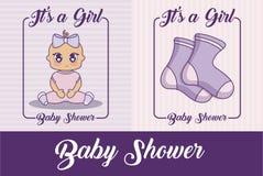 Bebés del icono del ilustration del vector del diseño de la fiesta de bienvenida al bebé Fotografía de archivo libre de regalías