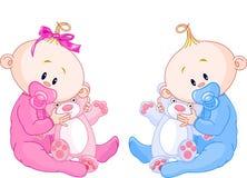 Bebés gemelos stock de ilustración