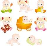 Bebés lindos de la historieta Imagenes de archivo
