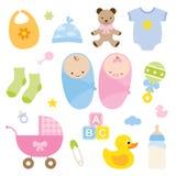 Bebés y productos del bebé. Imagen de archivo libre de regalías