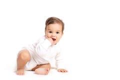 Bebê adorável isolado no branco Imagem de Stock Royalty Free