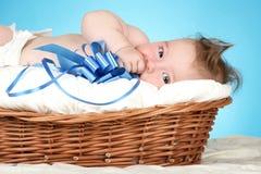 Bebê adorável na cesta de vime Fotografia de Stock