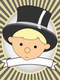 Bebê adorável no oval brilhante da etiqueta do produto do chapéu superior Fotografia de Stock