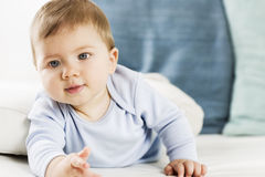 Bebê adorável que encontra-se na barriga no sofá branco. fotos de stock