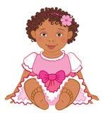 Bebê afro-americano bonito em príncipes felizes vetor do vestido cor-de-rosa Imagem de Stock